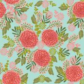 chrysanthemums // mint autumn florals flowers mums floral linocut floral print