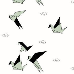 Birds - origami monochrome and mint geometric birds || by sunny afternoon