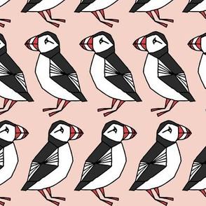 puffin // light pink blush girls birds bird cute winter animals winter fabric