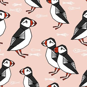 puffin // pink blush kids fish winter animals birds