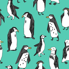 penguins // penguin bird birds winter kids cute birds green bright winter fabric