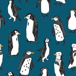 penguin // dark blue penguins kids cute winter fabric penguins pingu