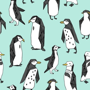 penguins // light mint penguin pingu bird winter mint cute birds