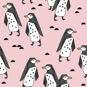 penguins // pastel pink cute baby nursery antarctic girls penguin cute winter fabric