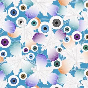 eye to eye iris on blue