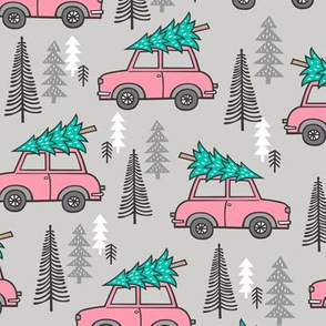 Holiday Christmas Tree Pink Car Woodland Fall on Grey