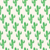 Linocut Cacti Pattern Creme