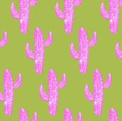 Linocut Cacti Pattern Pink