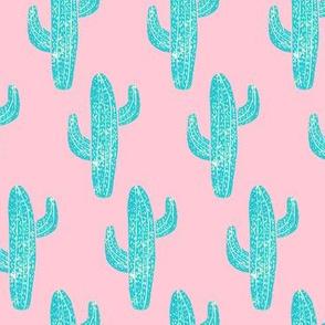 Linocut Cacti Pattern Teal