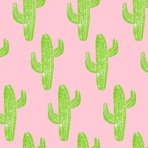 Linocut Cacti Pattern Minty Pinky