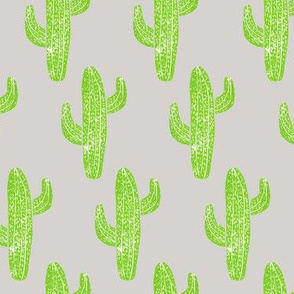 Linocut Cacti Pattern Green x Grey