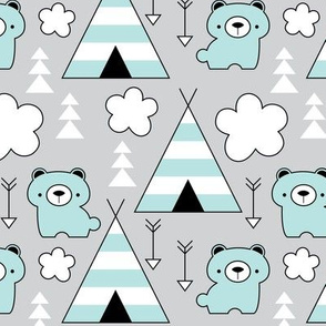 teepees and-bears-in-turquoise