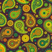 Poppin' Paisley - Green Orange Brights