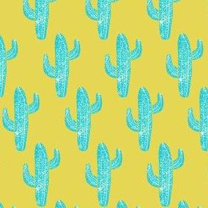Linocut Cacti Mustard