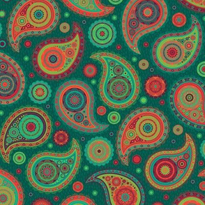 Poppin' Paisley - Red & Teal
