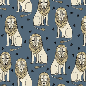 lion // lion safari lions kids safari zoo boys blue and yellow kids zoo nursery baby boy
