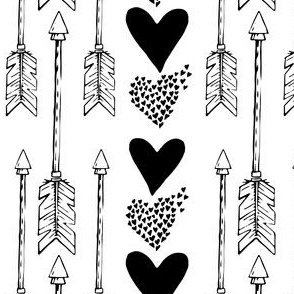 Hearts & Arrows - Black & White