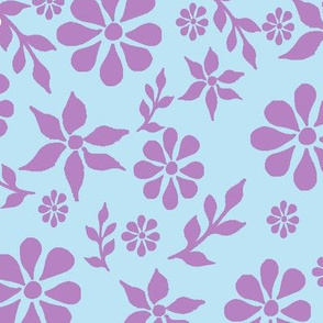 Floral Pink and Blue