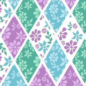 Floral Pink,Blue and Green