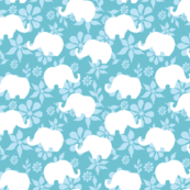 Blue and White Elephant Repeat