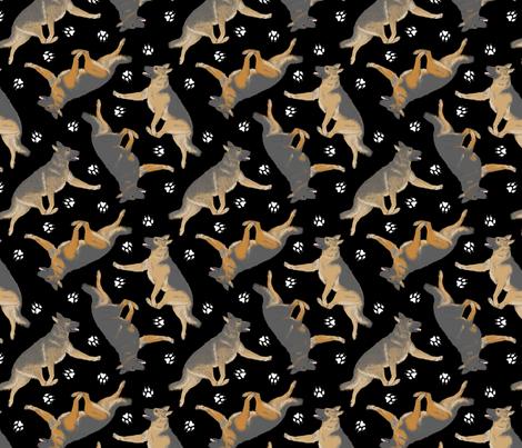 Trotting German Shepherd dogs and paw prints - black