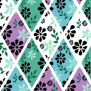 Floral Repeat Black, White, Green, Pink and Blue