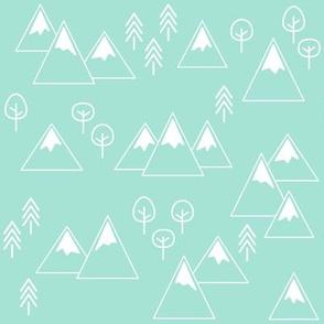 PNW - Mountains & Trees White on Mint