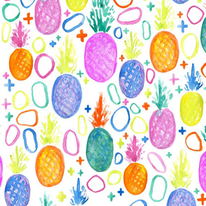 pineapple // trendy, summer, bright, watercolor, neon, swiss cross, girly, fruit, colorful, modern