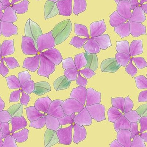Periwinkle posies on yellow