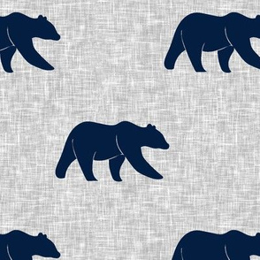 navy bear on light grey linen (large scale)