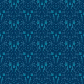 Mad Science Damask (Blue)