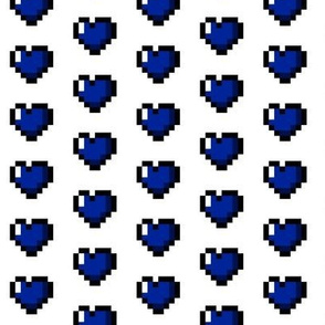 Blue 8-Bit Pixel Hearts On White