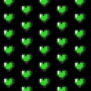 Green 8-Bit Pixel Hearts On Black
