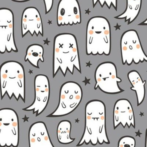 Ghosts and Stars Halloween on Grey