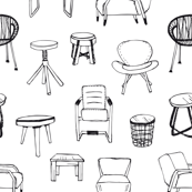 Chairs and tables in black and white