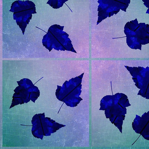 Blue Leaves on Ombre