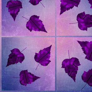 Purple Leaves on Blue Ombre