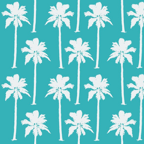 White Palm Trees on Aqua