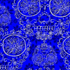Blue and White Skulls and Flowers