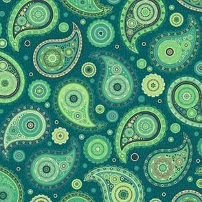 Poppin' Paisley - Deep Aqua