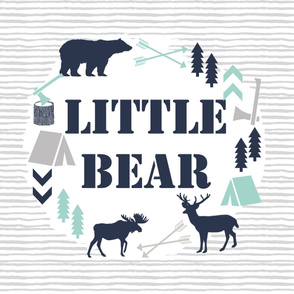 little bear blanket boys nursery baby grey mint navy kids