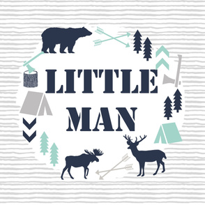 little man blanket kids boys nursery baby grey mint blue