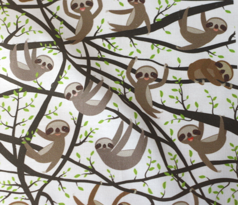 funny kawai sloth set on a branch, green leaves,  brown,  white background
