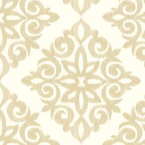 Modern Damask in Gold and Cream