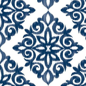 Modern Damask in Navy