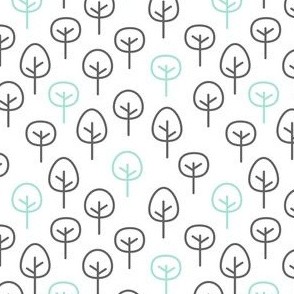 PNW - Trees Charcoal Gray & Mint on White