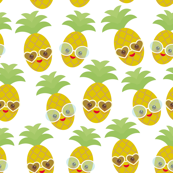 kawaii pineapple, face and smile winking eyes with sunglasses on a white background
