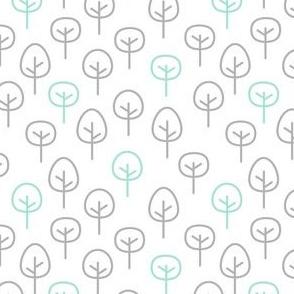 PNW - Trees Light Gray & Mint on White