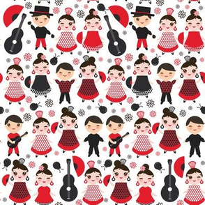 kawaii boys and girls flamenco dancers, smiling and winking eyes. Fan, castanets, guitar, Spanish, Spain, on a white background
