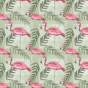 Pink Flamingos, Lawn & Palm Leaves